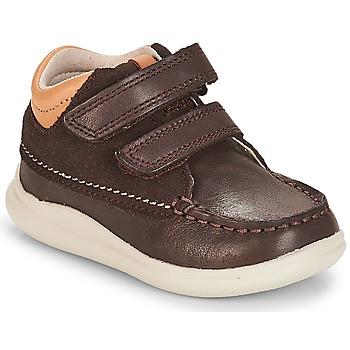 Pantofi Băieți Pantofi sport stil gheata Clarks Cloud Tuktu Brown / Combi / Lea