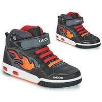 Încăltăminte Băieți Pantofi sport stil gheata Geox JR GREGG Negru / Roșu