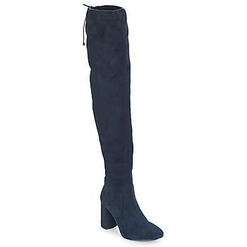 Pantofi Femei Cizme lungi peste genunchi André VELOURS Bleumarin