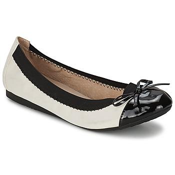 Pantofi Femei Balerin și Balerini cu curea Moony Mood EDOUMI Alb / Negru