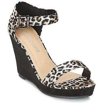 Pantofi Femei Sandale și Sandale cu talpă  joasă Moony Mood EVONGA Negru / Leopard