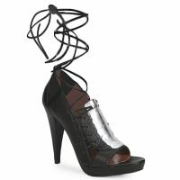 Pantofi Femei Sandale și Sandale cu talpă  joasă Sigerson Morrison STRUZZO Negru / Argintiu