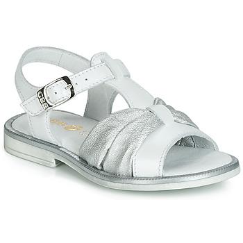 Pantofi Fete Sandale  GBB MESSENA Alb / Argintiu