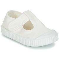 Pantofi Copii Balerin și Balerini cu curea Victoria SANDALIA LONA TINTADA Alb