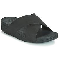 Pantofi Femei Papuci de vară FitFlop LULU SHIMMERLUX SLIDES Negru