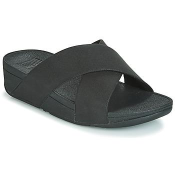 Încăltăminte Femei Papuci de vară FitFlop LULU SHIMMERLUX SLIDES Negru